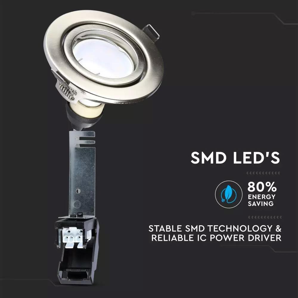 Spot LED 5W, GU10, Rama Satin-Nickel Orientabila, Lumina Naturala (4500K) 3buc/set