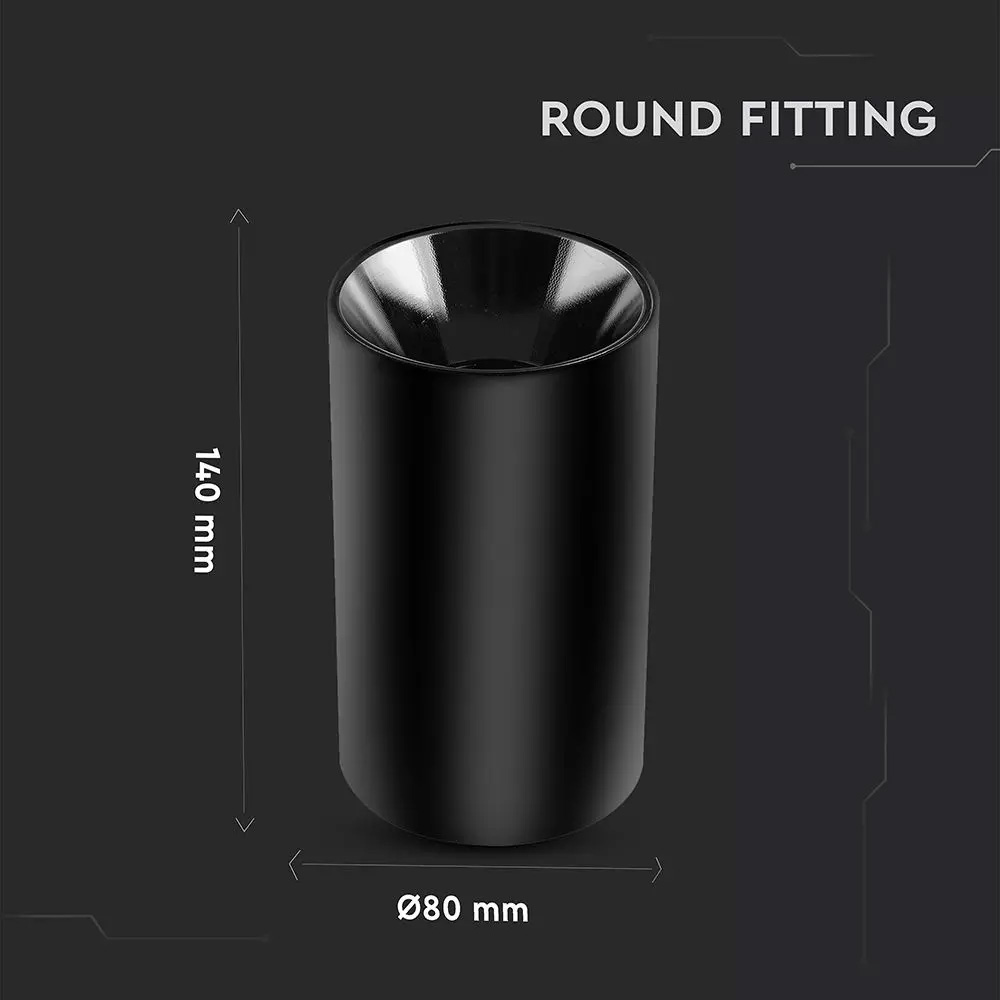 Rama Neagra Rotunda Aplicata pentru Bec GU10