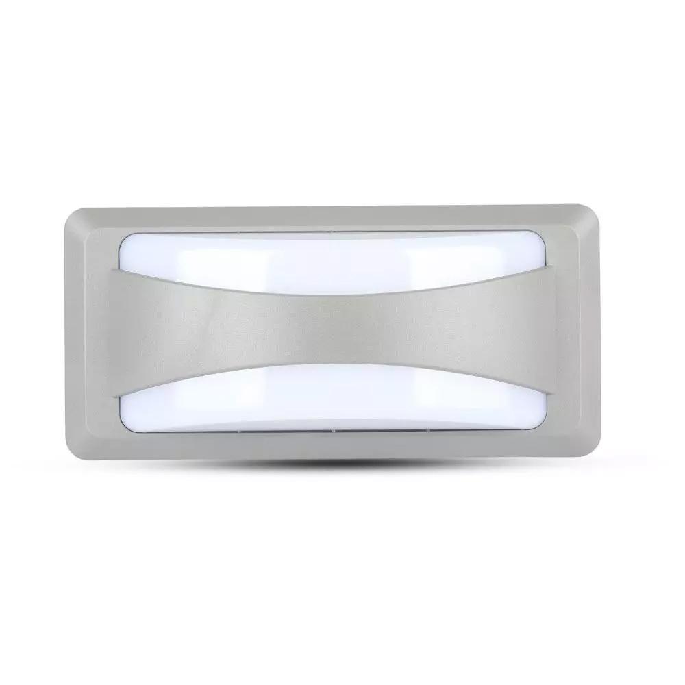 Aplica de Perete LED 12W, Lumina Difuza, Corp Gri, Lumina Rece(6400K) IP65