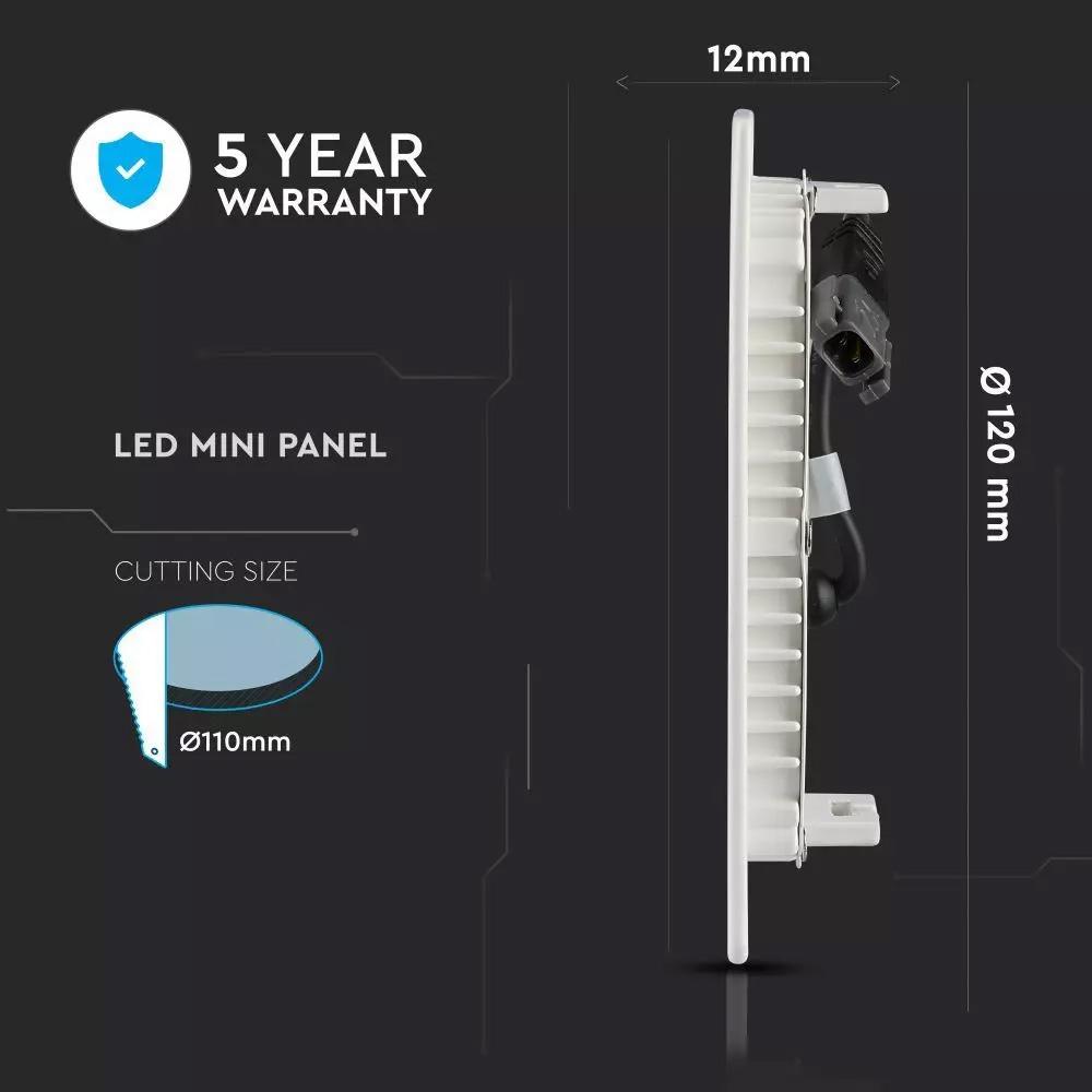 Panou LED Premium 6W, Rotund, Lumina Calda (3000K) Cip SAMSUNG