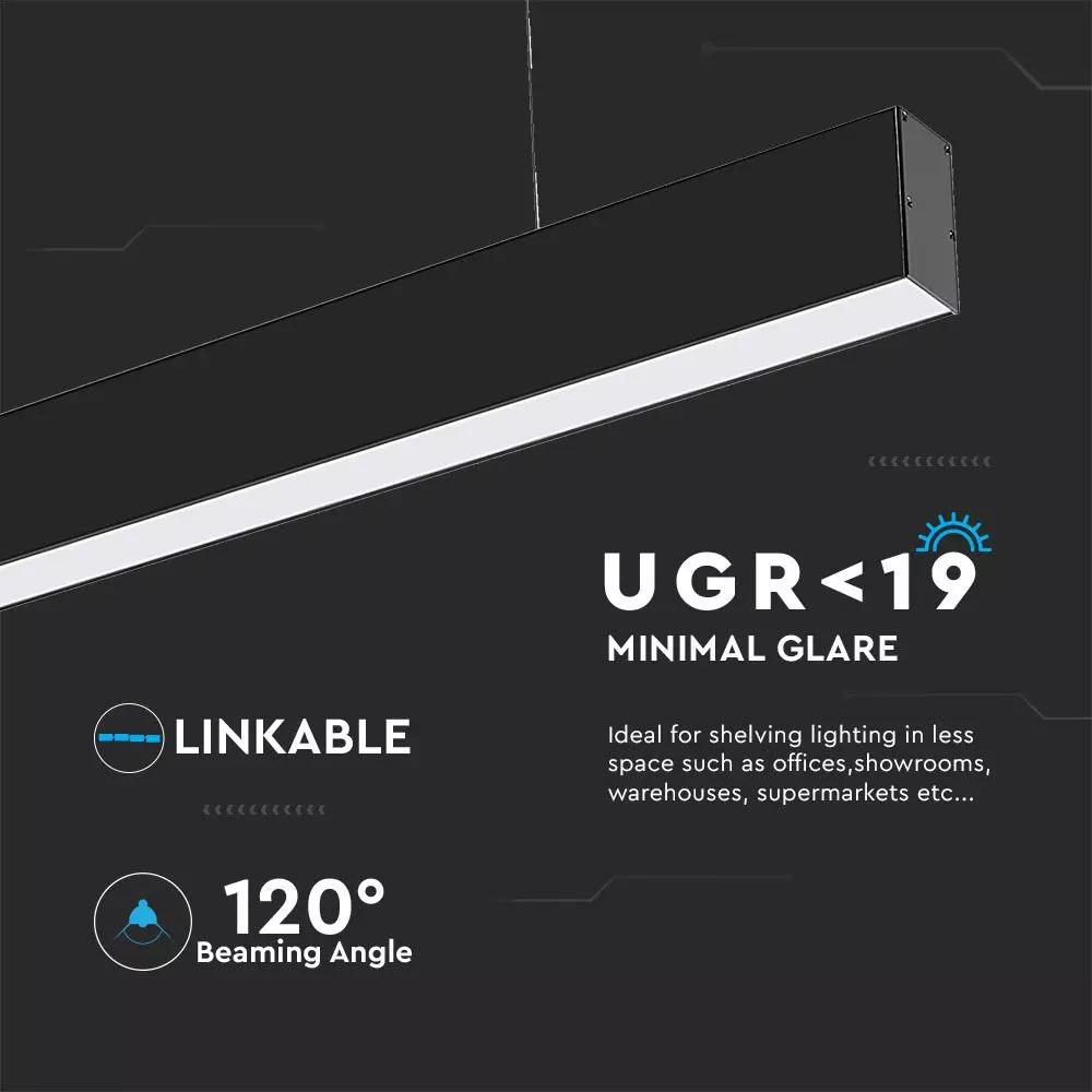 Lampa Lineara LED, Cip Samsung 40W, Suspendata, Corp Negru, 3 in 1