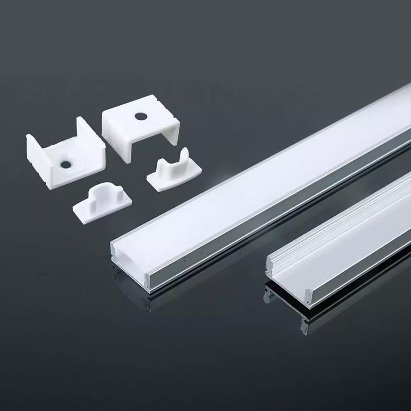Profil din Aluminiu pentru Banda LED cu Dispersor Alb Mat 2000 x 17.4 x 7mm