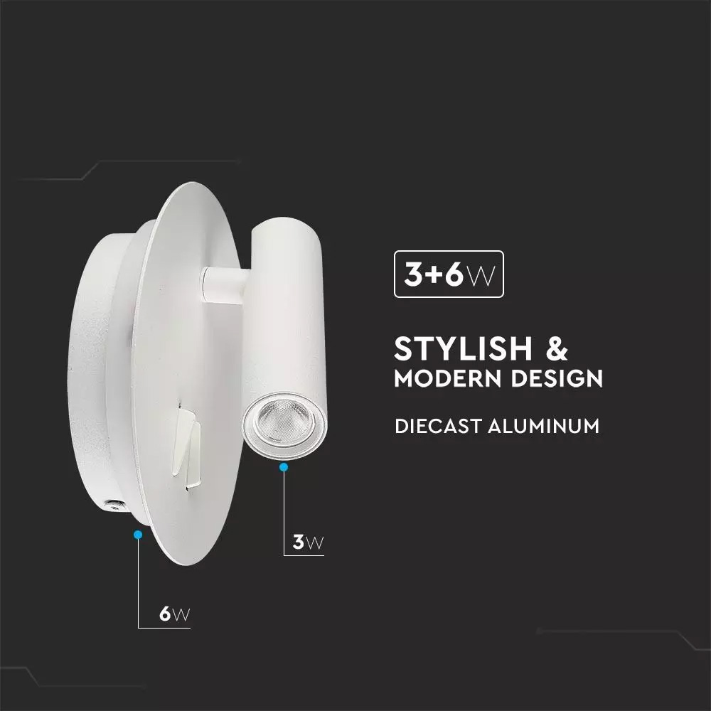 Lampa LED de Perete 3W+6W, Lumina Calda (3000K) Corp Alb