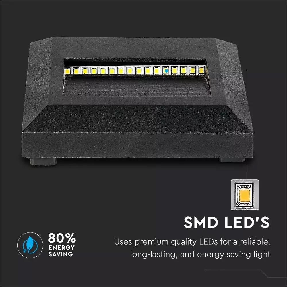 Lampa LED pentru scara 2W, Corp Negru, Patrat, Alb Cald