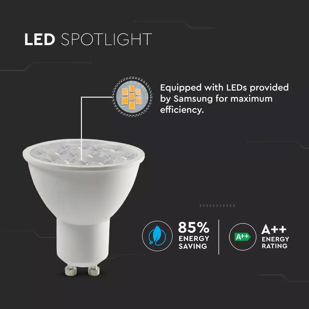 Spot LED GU10, 6.5W, Plastic, Lentila de 110`, Dimabil, Lumina Rece (6400K) Cip SAMSUNG