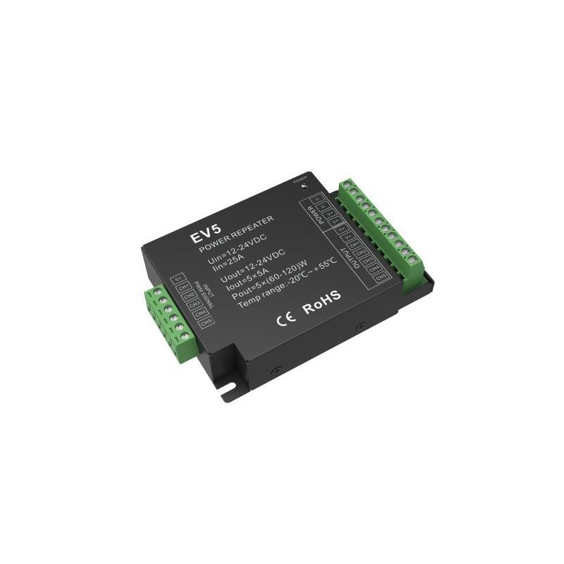 Amplificator 12-24VDC, 5A*CH, Max 25A,12V/300W, 24V/600W