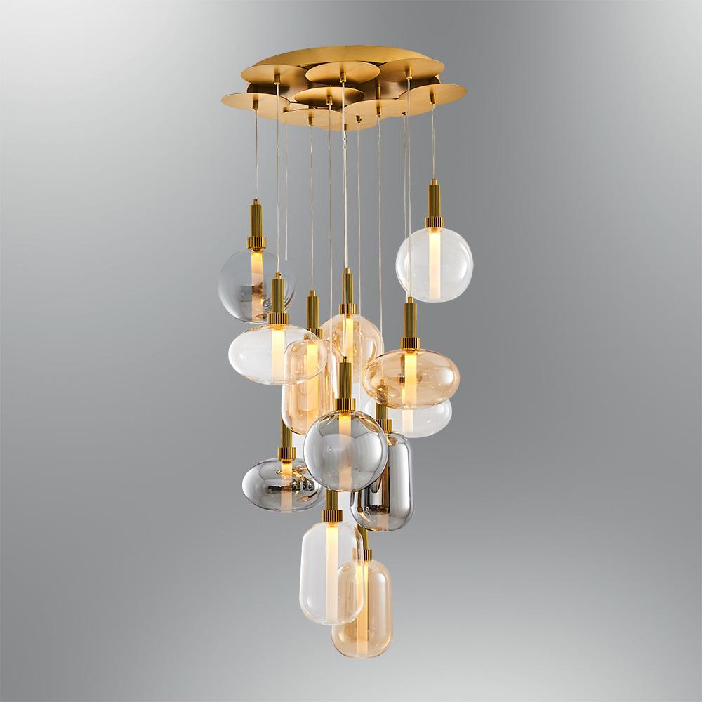 Candelabru 60W cu 12 Boluri de Diferite Dimensiuni cu Sticla Fumurie,Rose,Gold si Transparenta, Lumina Calda(3000K)