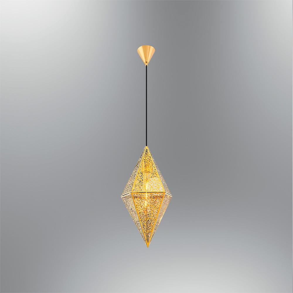 Pendul Gold din Metal, Soclu E27, Forma de Romb, Diam.20cm