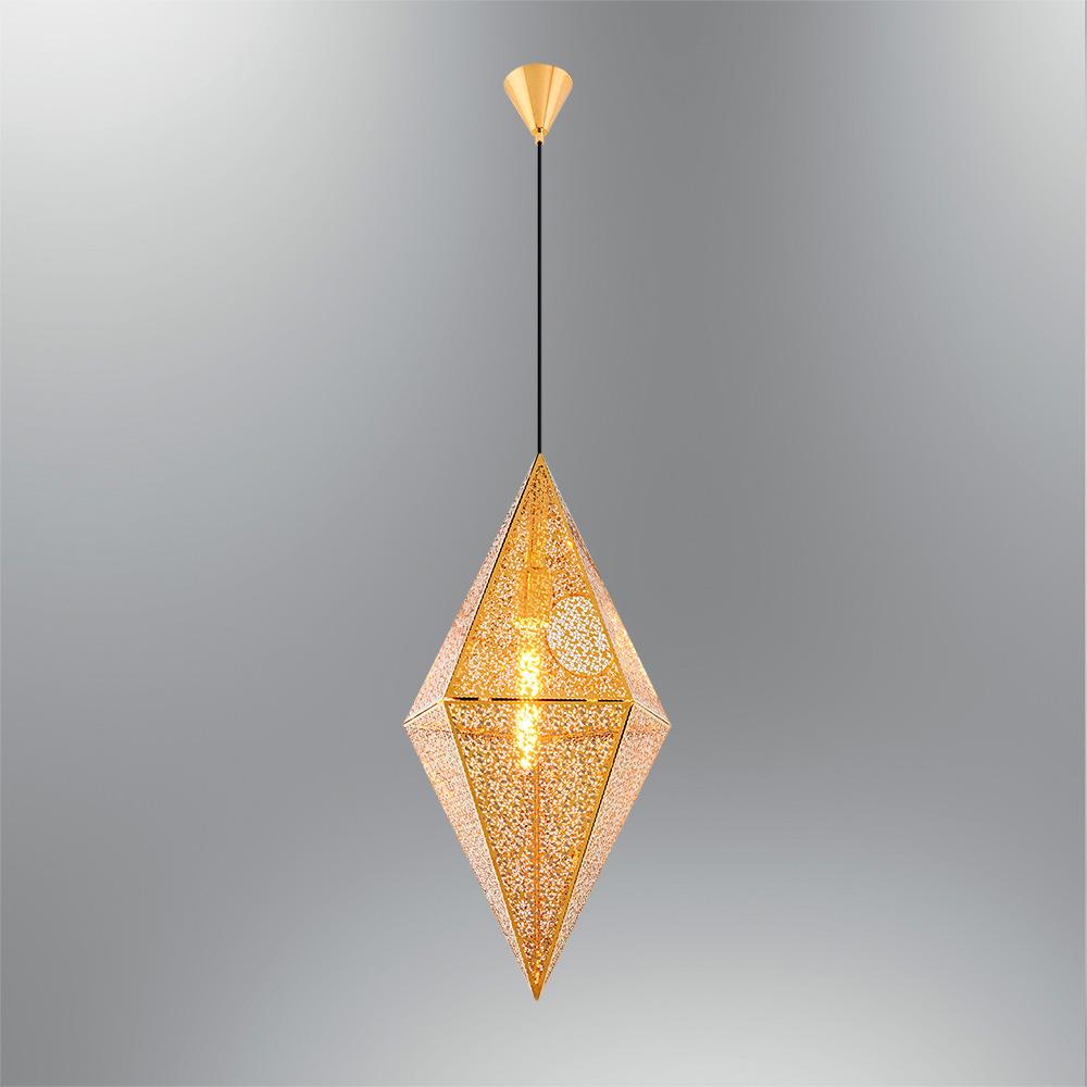 Pendul Gold din Metal, Soclu E27, Forma de Romb, Diam.30cm
