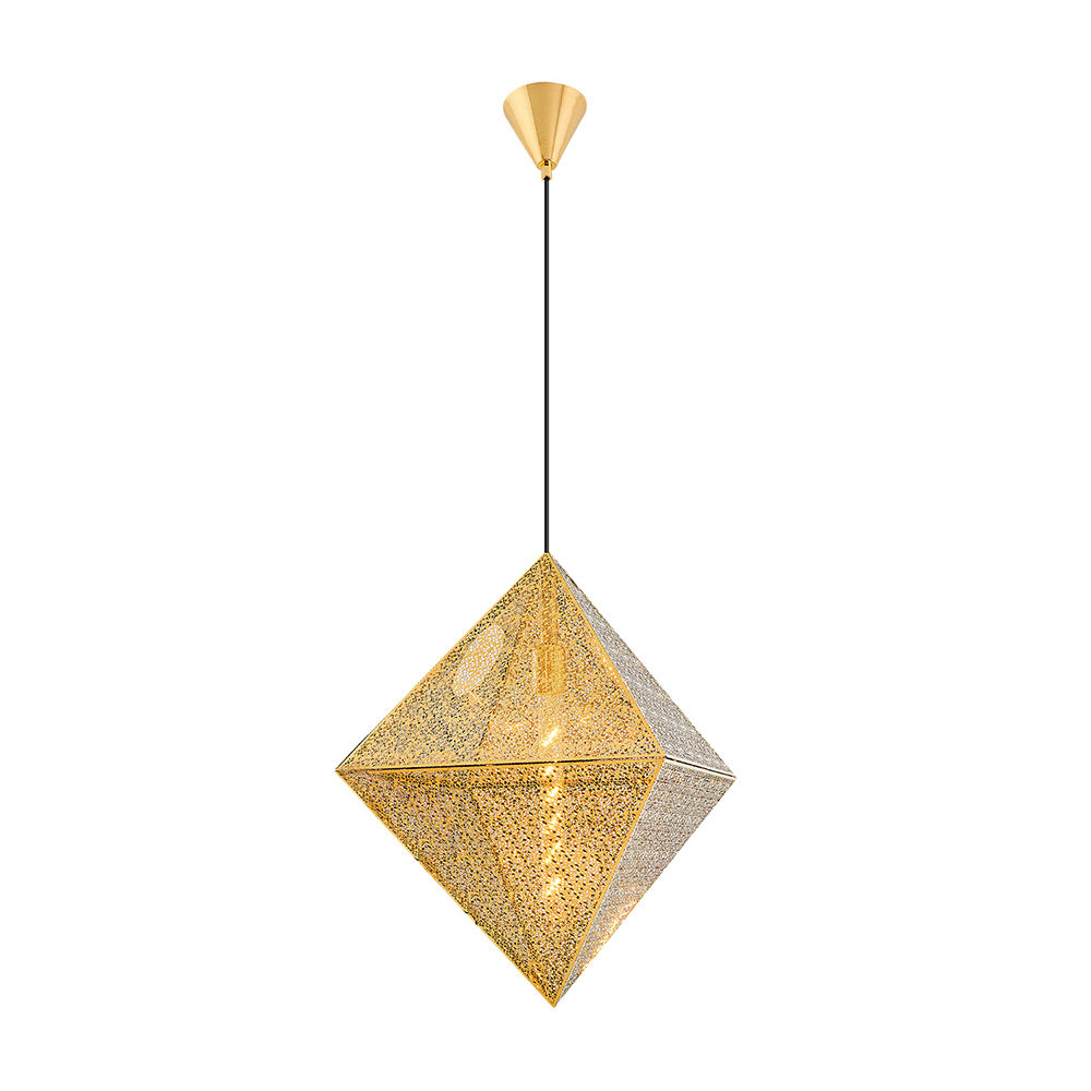 Pendul Gold din Metal, Soclu E27, Forma Romb, Diam.50cm