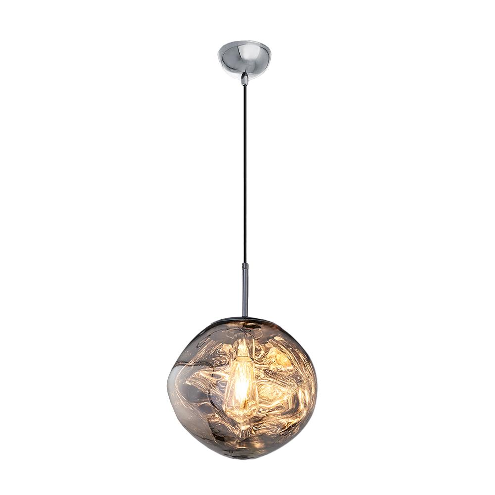 Pendul din Sticla si Metal, Soclu E27, Culoare Gri Auriu