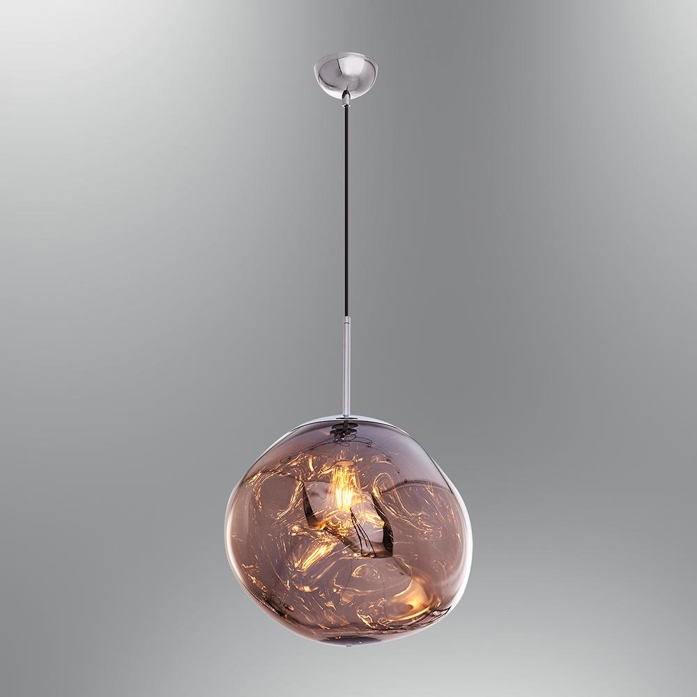 Pendul din Sticla si Metal, Soclu E27, Culoare Rose Auriu