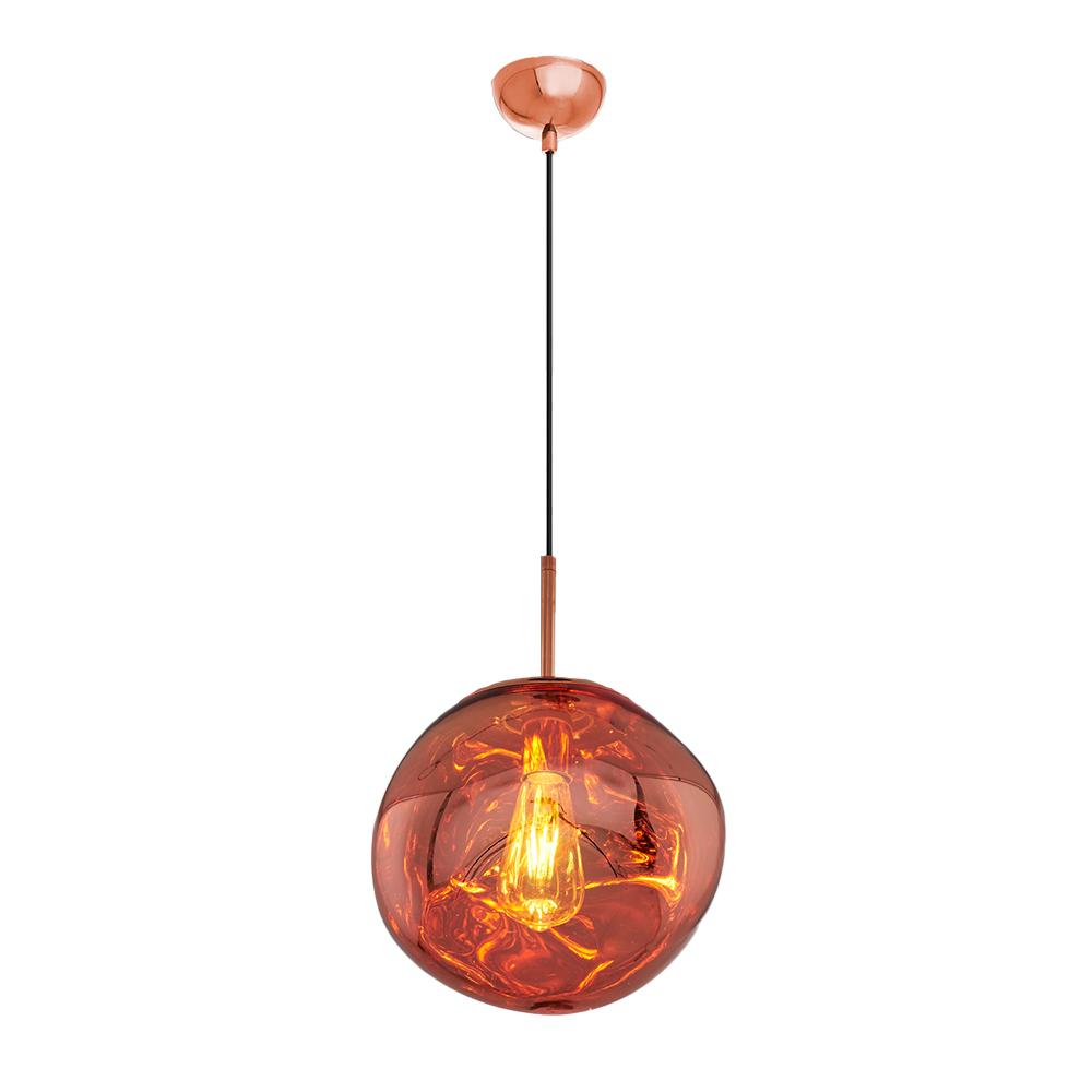 Pendul din Sticla si Metal,Soclu E27, Culoare Rose Auriu, Diam.360mm