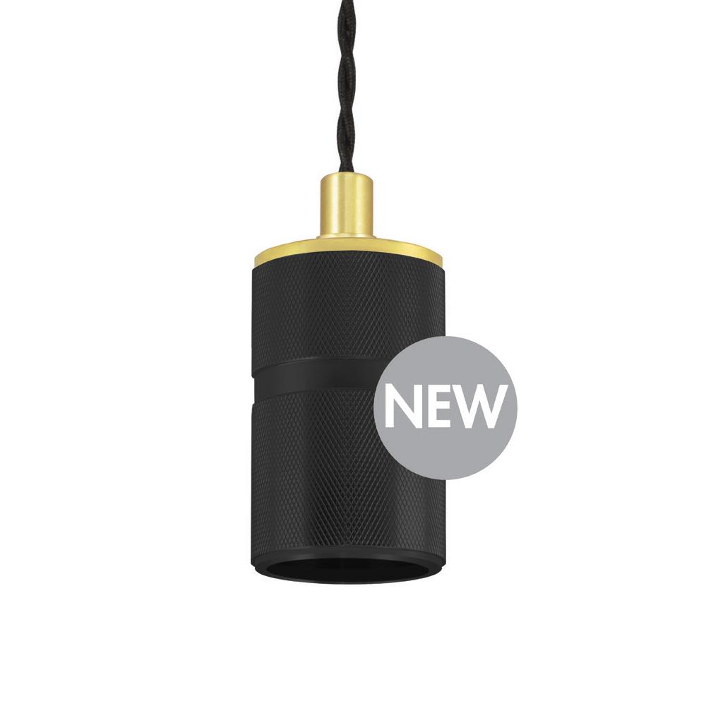 Suport Suspendat Madison pentru Bec E27, Culoare Negru/Auriu, D50*H115mm, Lungime Cablu 2m