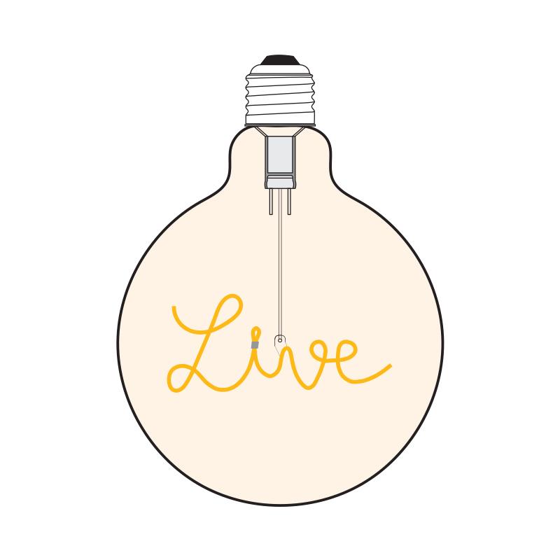 Bec LED Live 2W, E27, G125, Lumina Calda 2200K