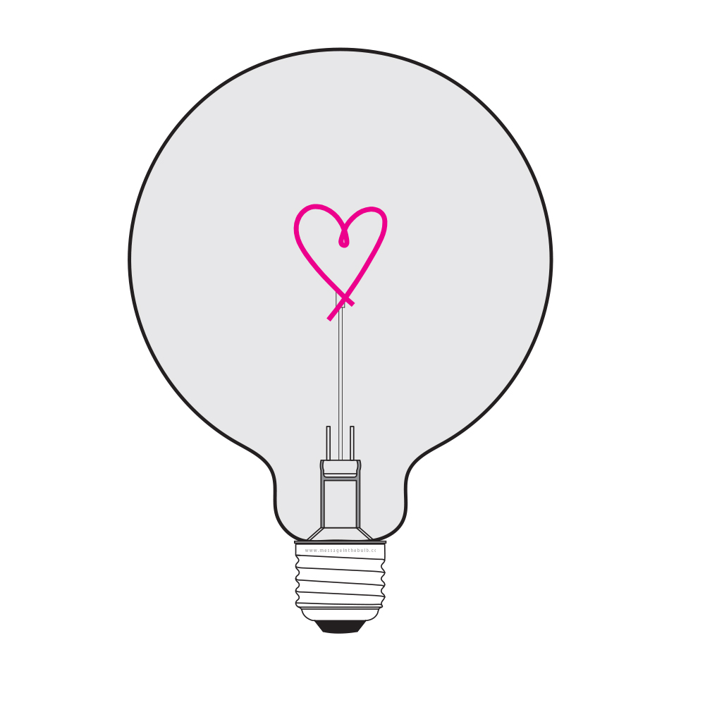 Bec LED Coeur 2W, E27, G125, Lumina Rosu/Fume