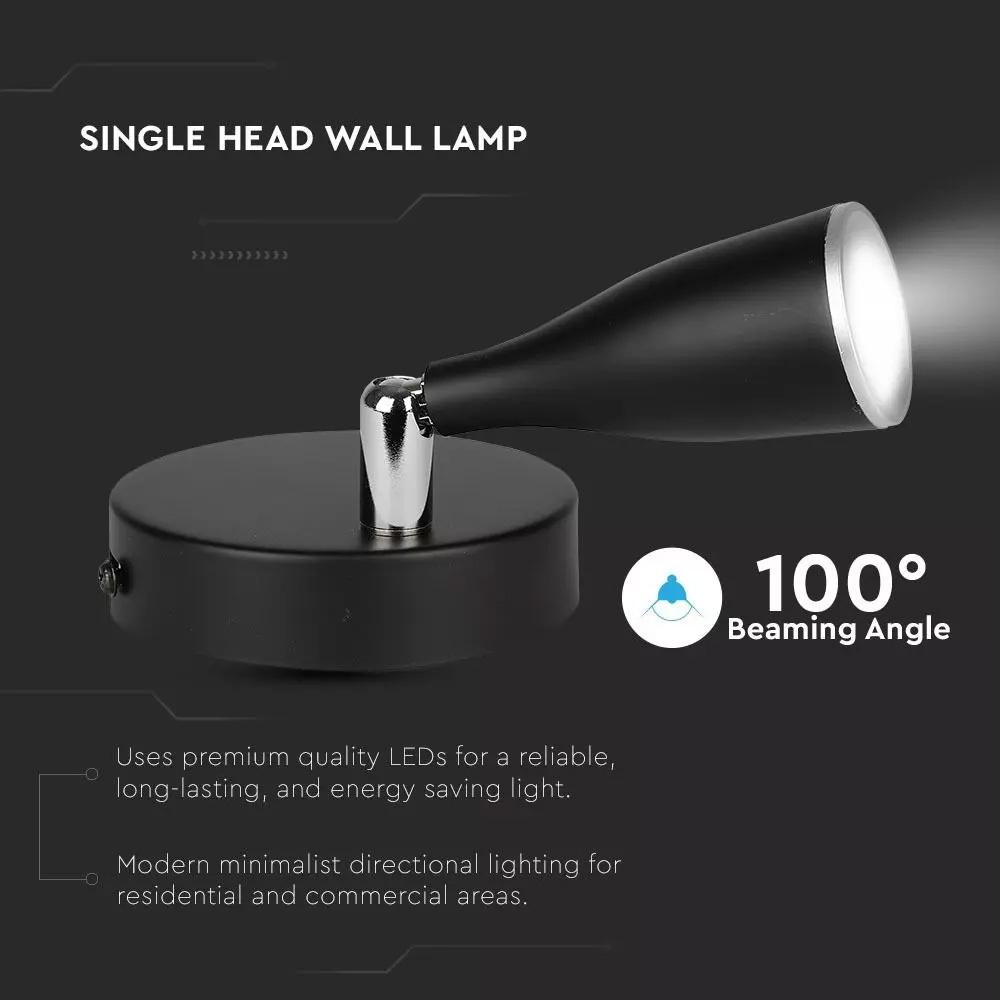 Lampa de Perete LED de 4.5W, Corp Negru, Lumina Calda (3000K)