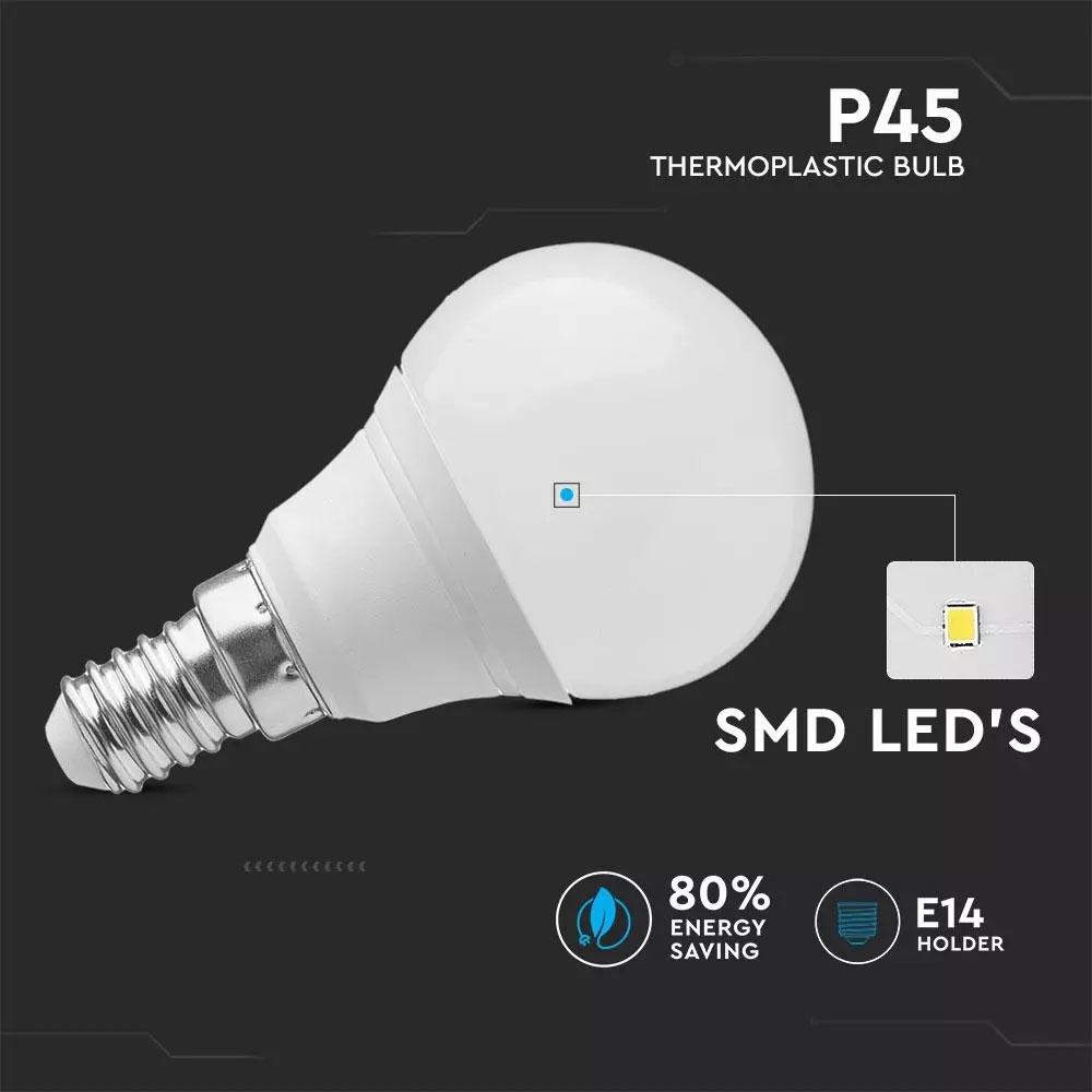 Bec LED 5.5W, E27, P45, 40000K, Set cutie 6 buc