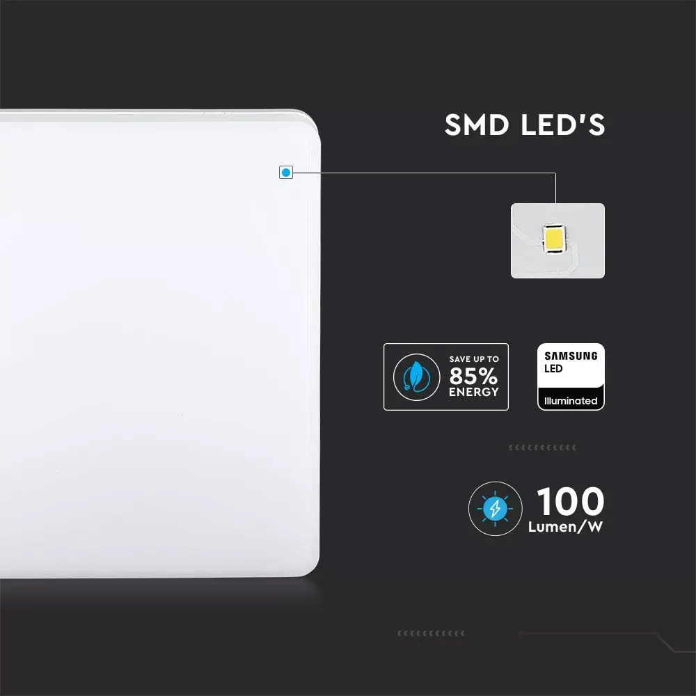 Aplica LED SAMSUNG Cip 15W, Rama Patrata 4000K, IP44, 1500lm