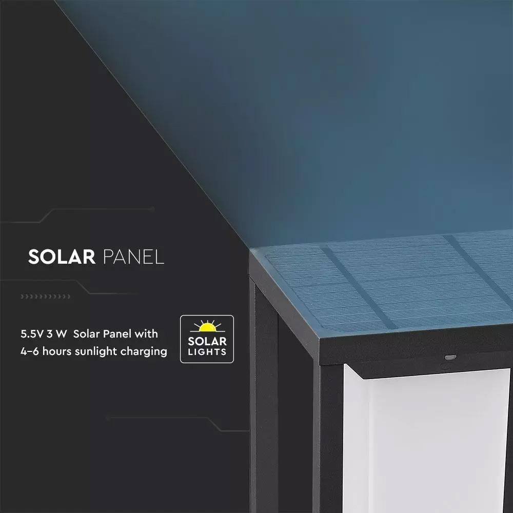 Lampa Solara 2W LED, Cip SAMSUNG, Gri, 3000K