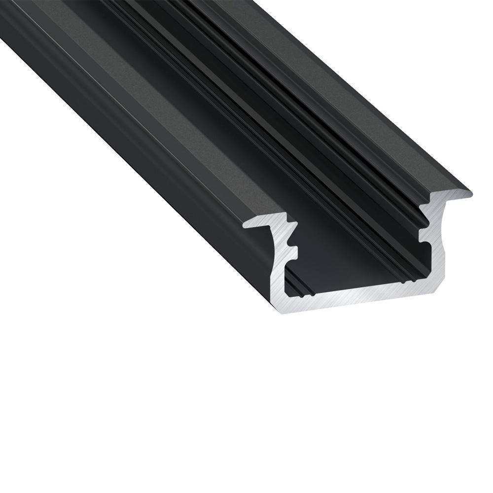 Profil din Aluminiu incastrat TIP B, Negru, 3m