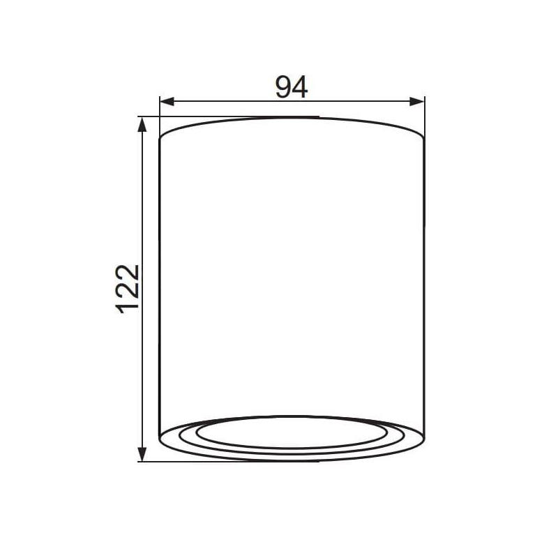 Spot Aplicat Cilindric Alb, Soclu GU10, Orientabil
