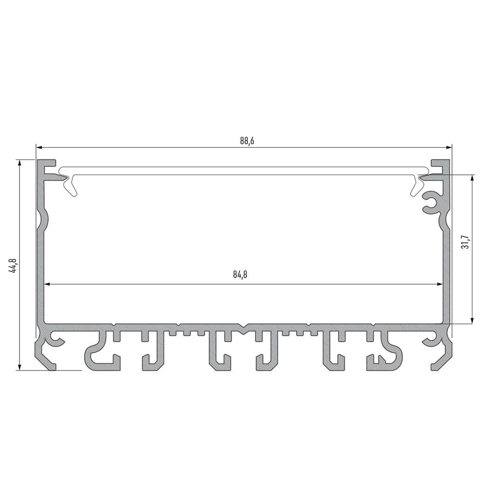 Profil din Aluminiu Aplicat TIP LARGO, Gri, 3m