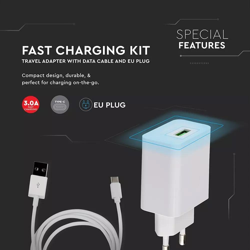 Set Incarcator Rapid Adaptor de Calatorie & Cablu USB Tip-C Alb