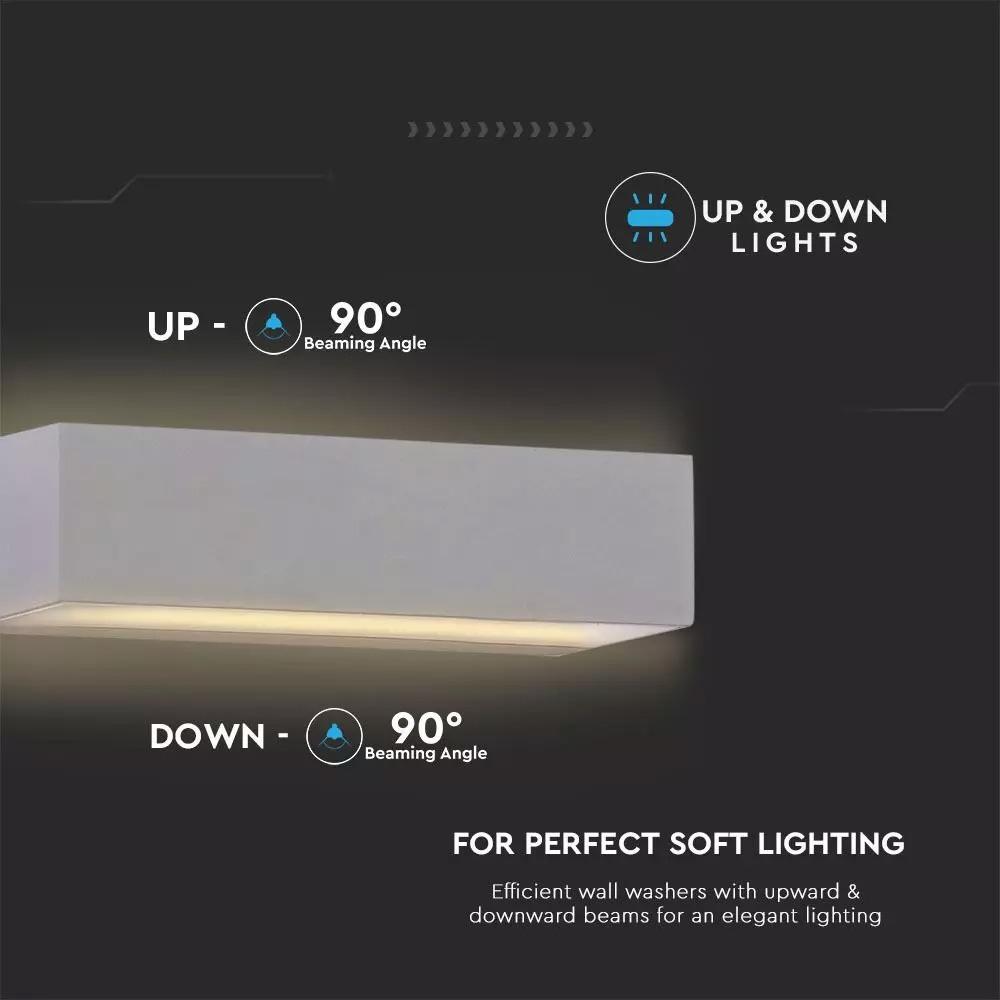 Lampa LED de exterior reglabila sus/jos 9W, Corp Gri, Lumina calda, IP65