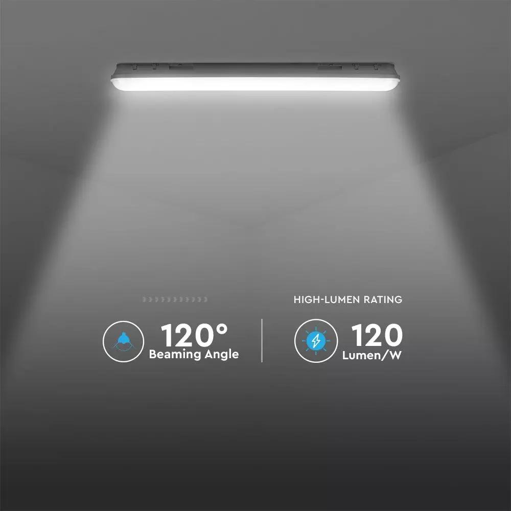 Lampa LED Rezistenta la Apa, Seria-M 1500mm, 48W, 6400K, Transparent, 120lm/W
