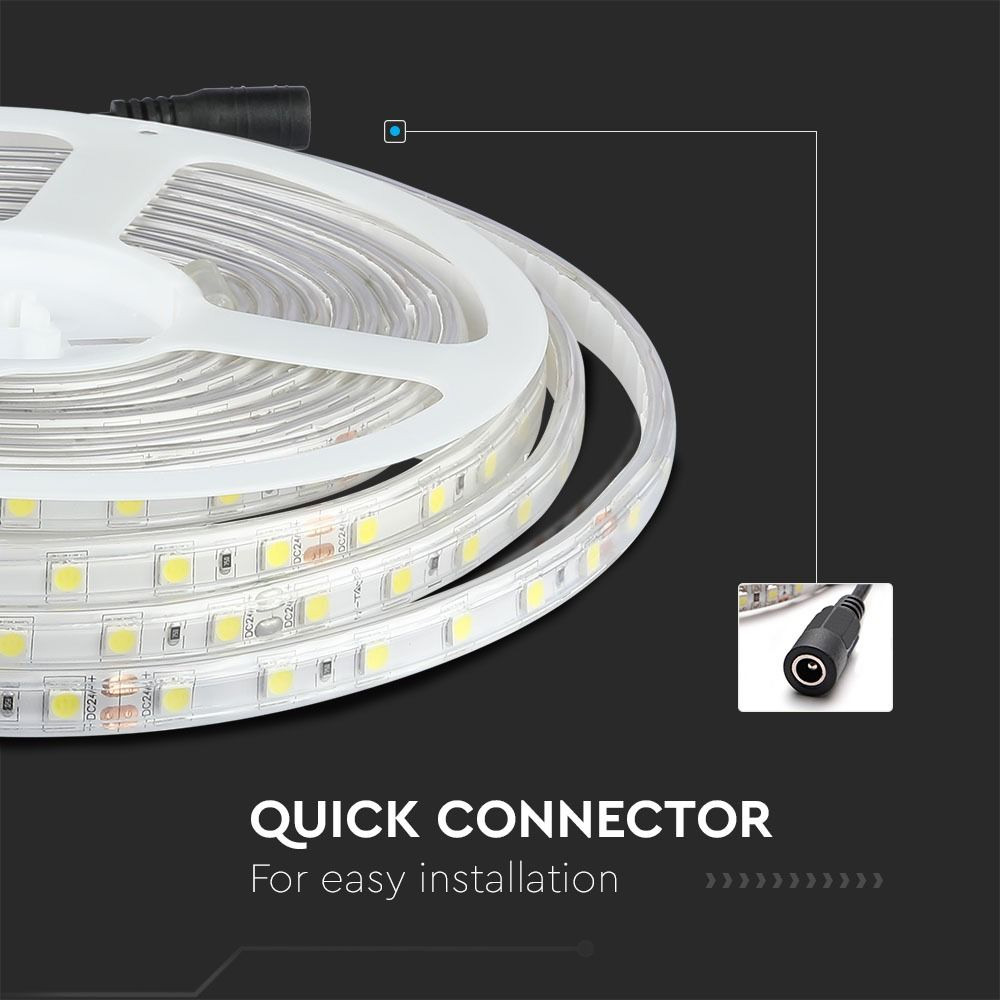 Banda LED 5050, 60 LED, 24V, IP65, 6400K, Rola 10 metri