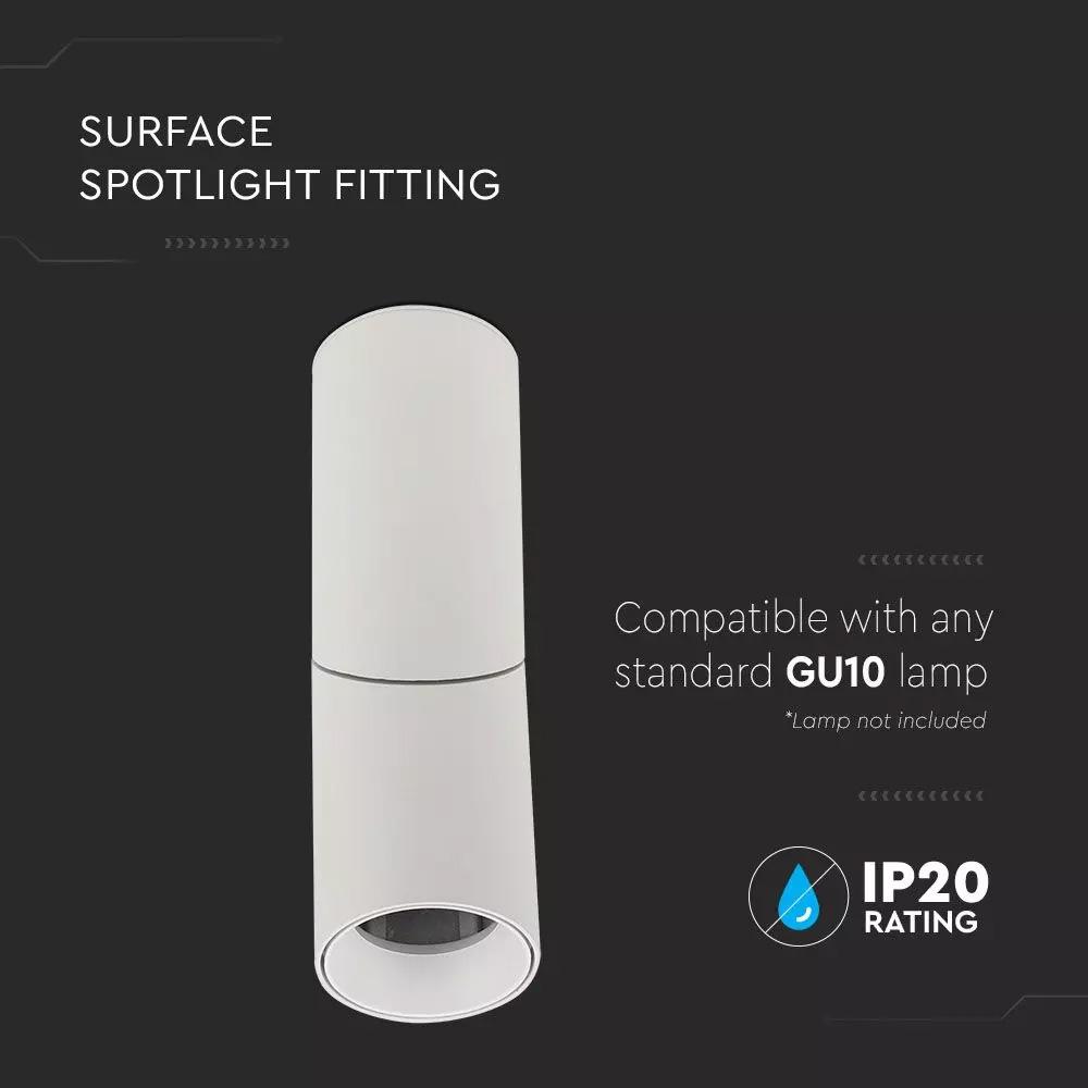 Spot Aplicat Cilindric Alb, Soclu GU10, Unghi Reglabil