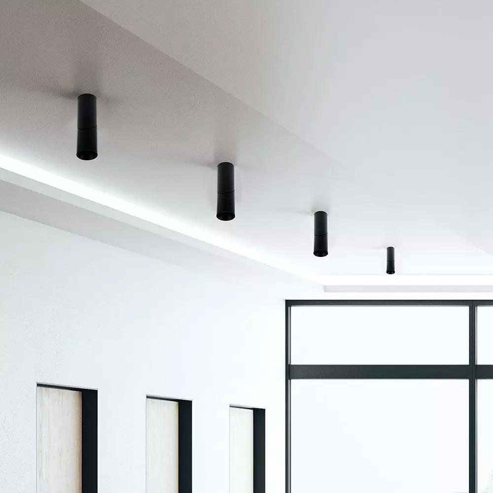 Spot Aplicat Cilindric Negru, Soclu GU10, Unghi Reglabil
