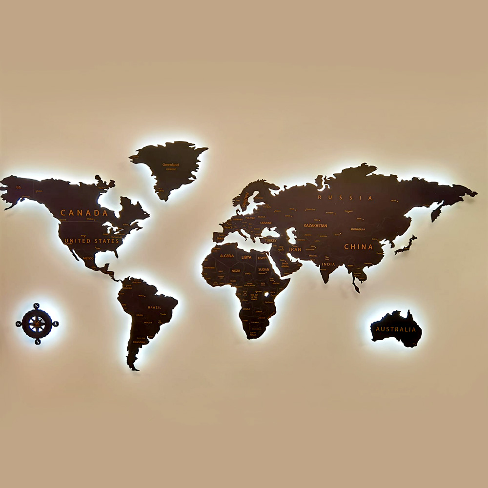 Harta Lumii Traforata din Lemn Iluminata, Lumina Calda 3000K cu Telecomanda