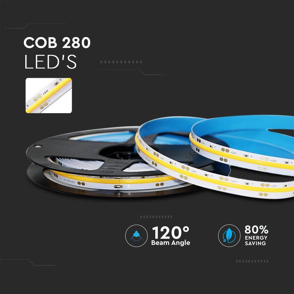 Banda LED COB IP20, 24V, Lumina Calda 3000K, 280 LEDs, 10W/m, Rola 5 metri