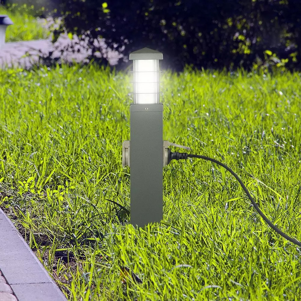 Priza de Gradina, 2 Intrari, Lampa E27, IP44