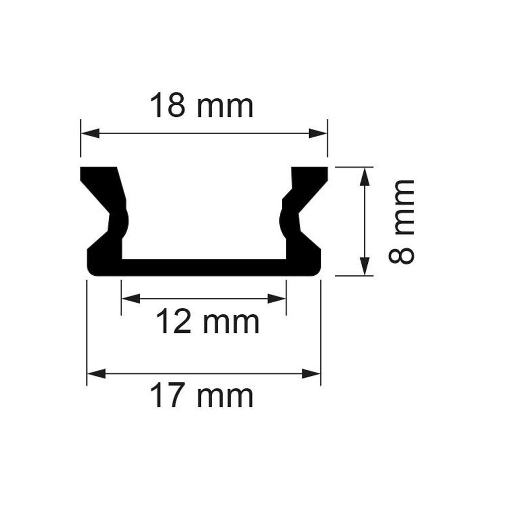 Profil din Aluminiu pentru banda LED, 2000x18x8mm