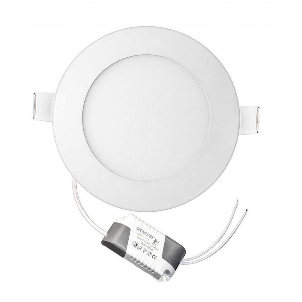 Panou LED 6W, rotund, incastrabil, lumina alba rece